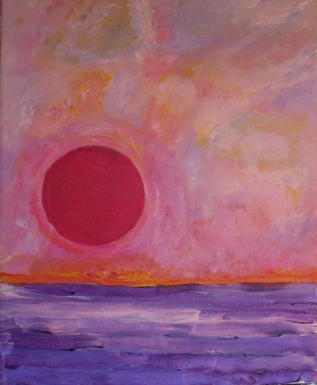Soleil tombant dans la mer