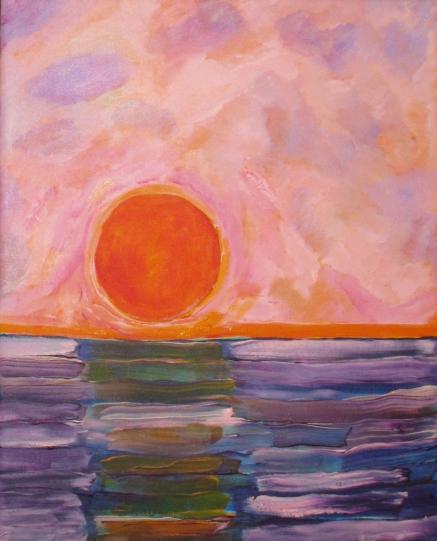 Soleil couchant sur mer tumultueuse