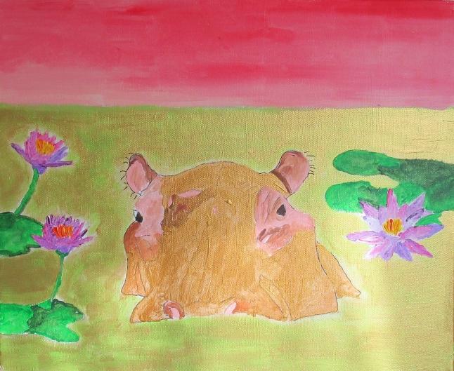 Hippopotame et nénuphars