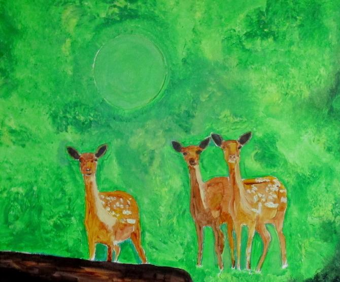 Trois faons et soleil vert