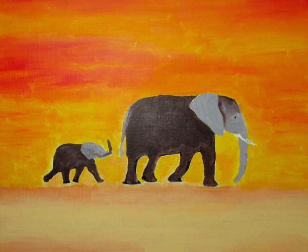 Éléphant et son éléphanteau