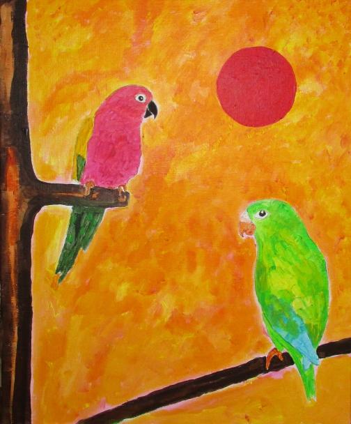 Perroquets sous le soleil